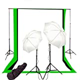 CowboyStudio Photography/Video Studio Lighting Kit with Black, White, and Green 6 feet x 9 feet Muslins Backdrop and Background Support System