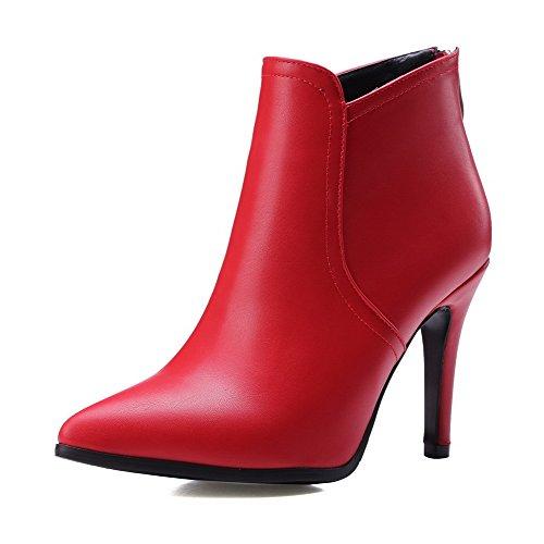 AllhqFashion Donna Cerniera Scarpe A Punta Tacco A Spillo Alla Caviglia Stivali, Rosso, 39