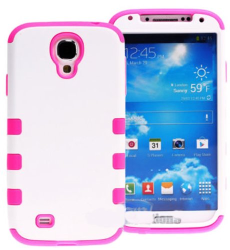 "Mylife (Tm) White And Pink - Matte Design (3 Piece Hybrid) Hard And Soft Case For The Samsung Galaxy S4 ""Fits Models: I9500, I9505, Sph-L720, Galaxy S Iv, Sgh-I337, Sch-I545, Sgh-M919, Sch-R970 And Galaxy S4 Lte-A Touch Phone"" (Fitted Front And Back Solid"