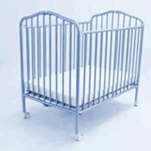 La Baby Compact Folding Metal Crib In Blue Baby