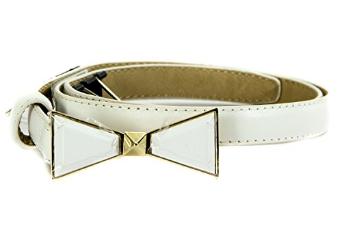 Vince Camuto Skinny Bow Belt, White, XL