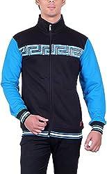 UCC Men's Fleece Regular Fit Sweatshirts (UCC7023BLACKBLUE-XXL)