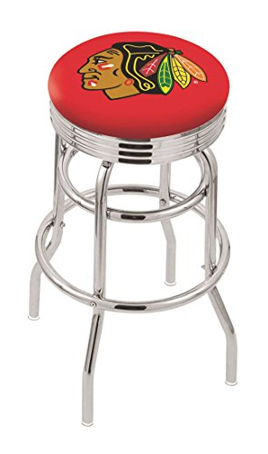 "25"""" L7C3C - Chrome Double Ring Chicago Blackhawks Swivel Bar Stool with 2.5"""" Ribbed Accent Ring-By BlueTECH"