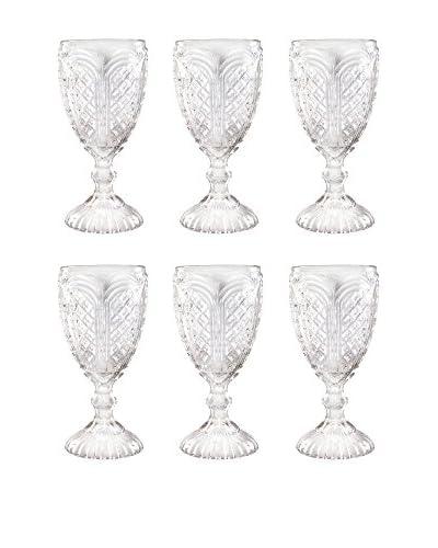 D&V Set of 6 Carousel Goblets, Clear