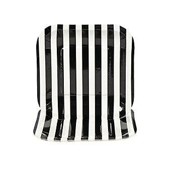 Black Striped Square Dessert Plates - 1