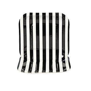 Black Striped Square Dessert Plates - 1