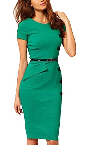 Little Love Women's Single-Breasted Elegant OL Casual Professional Bodycon Dress M Green