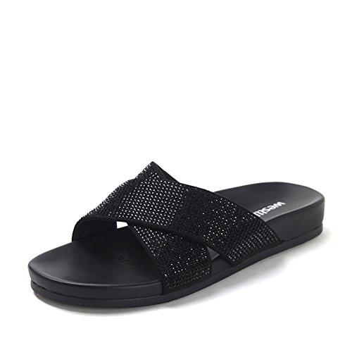 sandali estivi signora Croce e pantofole/muli in pelle piatta diamante-B Lunghezza piede=23.8CM(9.4Inch)