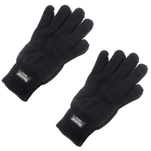 Men's Extra Warm Thermal Knitted Gloves 40g Thinsulate Lining Black Medium/Large