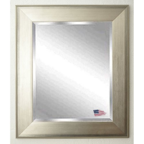 American Made Rayne Brushed Silver Tone Beveled Wall Mirror, 34 X 38 front-707544