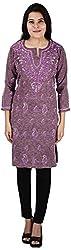 Drishti Lucknowi Chikan Women's Cotton Kurta (DLC-K05, Brown, L)