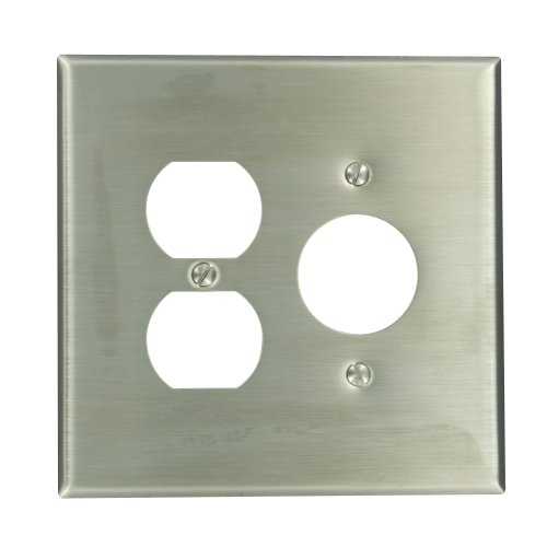 Leviton 84146-40 2-Gang 1-Duplex 1-Single 1.406-Inch Diameter, Device Combination Wallplate, Oversized, Device Mount, Stainless Steel
