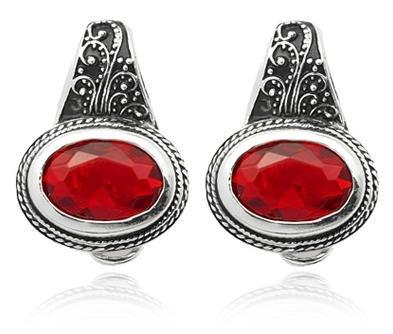 Silver Tone Nickel Free Oval Ruby Earrings-SE3360