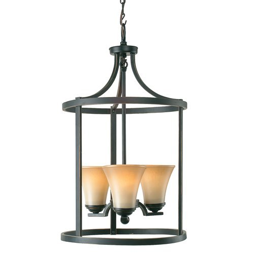 Royce Lighting 59375BLE-782 Fallsburg 3-Light Foyer Fixture with Sepia Tinted Frosted Glass Shades, Heirloom Bronze