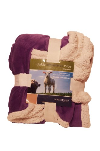 Northpoint Cuddly Solid Color Reverisible Mirco Mink To Mirco Sherpa Throw, Purple front-892045