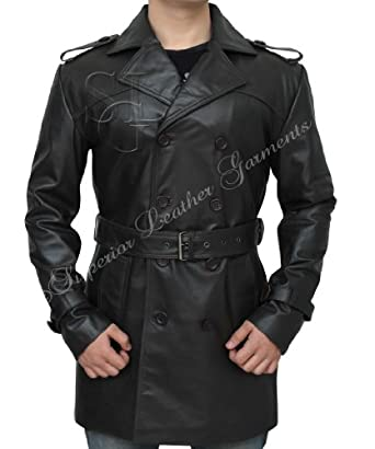 """Sweeney Todd Mens Vintage Brown Leather Jacket Trench Coat (2XL - For person of Chest 45"""")"""