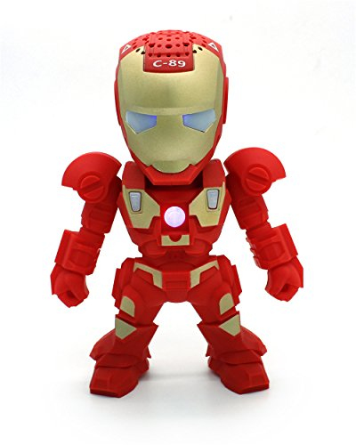 Apltch® New Iron Man Wireless Bluetooth Speaker C-89 Mini Portable Children Style LED Light Speakers Stereo Music Player Support FM TF For Smartphones Tablets PC All Blutooth Devices(Red) (Iron Man Speaker compare prices)