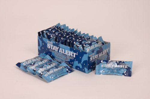 STAY ALERT Military Caffeine Energy Gum - ARCTIC MINT - TRAY (24 packs, 5 pieces per pack) - 100mg Caffeine per piece