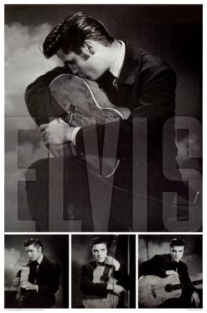 Elvis Presley Collage Guitar Kiss Photo Poster Poster Print, 24x36 Poster Print, 24x36