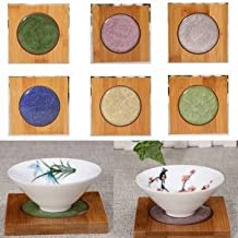 Creative Square Bamboo Coaster Tea Cup Holder Mat Ice-crack Ceramic Coaster Kungfun Tea Acessaries-dark Green