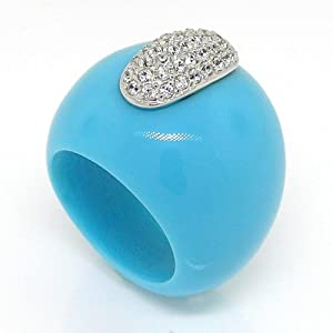 Silver Large Cocktail Ring w/Turquoise &amp; White CZs