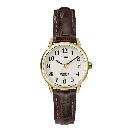 Timex Ladies Watch with White Dial and Brown Leather Strap - T20071PF