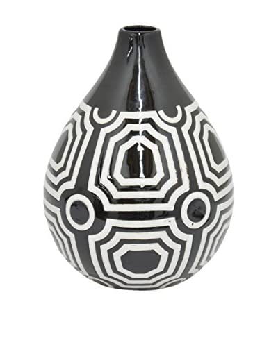 Three Hands Little Teardrop Geometric Ceramic Vase, Black/White