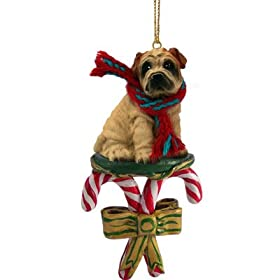 Shar Pei Cream Dog Candy Cane Christmas Holiday Ornament