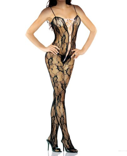 Desire hosiery bodystocking w/lace-up front black qn