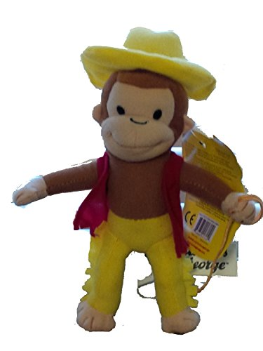 Curious George As a Farmer with Yellow Hat and Pants and Red Vest and Lasso 9 Inches - 1