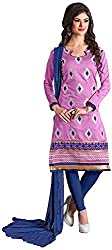 Manmauj Women's Cotton Unstitched Dress Material (MM10014DVIO, Pink)