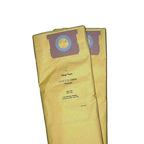 Shop Vac 16-22 Gallon Vacuum Cleaner High Efficiency Paper Bags 2PK # 906-73, GK-54025 (18 Gal Shop Vac Bags compare prices)
