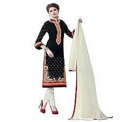 Bhelpuri Women Black Cotton Dress Material