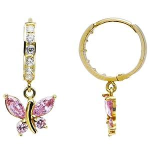Body Candy 14K Yellow Gold Light Pink CZ Butterfly Huggy Earrings