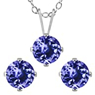 2.70 Ct Round Blue Tanzanite 925 Sterling Silver Pendant Earrings Set