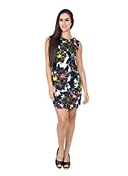 CJ15 Multi Color Cotton Lycra Printed Sleeveless Dress For Women