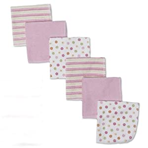 Gerber 6 Count Washcloth, Pink,