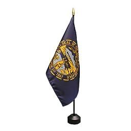 Nebraska Flag 8X12 Inch Mounted E Gloss With Fringe