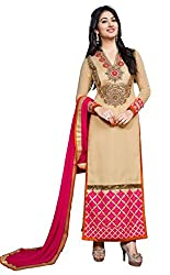 DKS Designers Women's Georgette Unstitched Dress Material (PN306_Beige_Free Size)