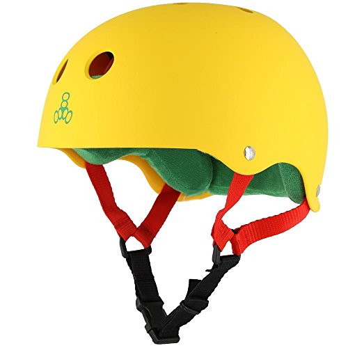 Triple-8-Brainsaver-Rubber-Helmet-with-Sweatsaver-Liner-Rasta-Yellow-Rubber-Medium