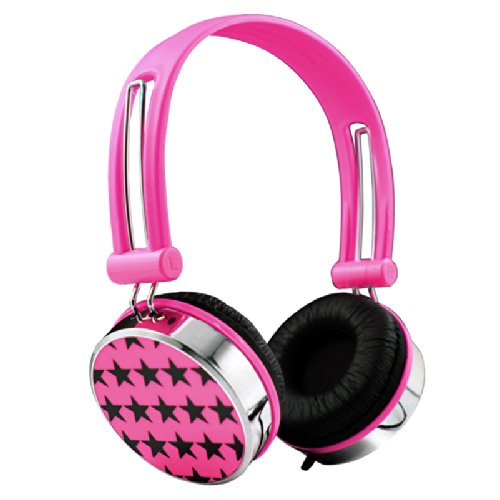 Stars Boys Girls Childrens Kids Over The Head Dj Headphones Headsets Ipod Pc Mp3 (Pink)