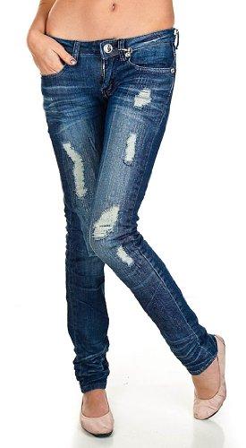 Machine Jeans Straight Leg Crystal Destroyed Jeans   Slim Straight Jean