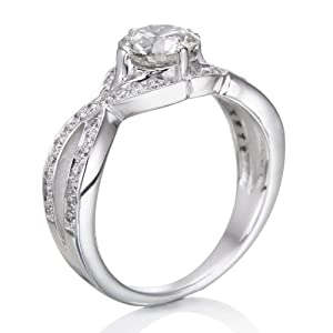 Diamond Engagement Ring in 14K Gold / White Certified, Round, 1.27 Carat, J Color, VS2 Clarity