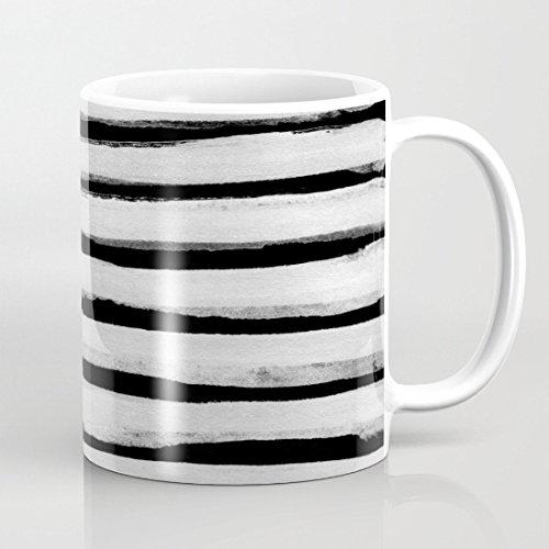 quadngaagd Nero e Bianco a righe da 325ml Tè Tazza Di Caffè Bianco