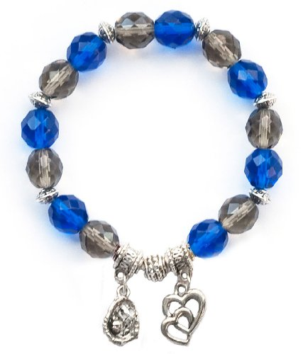 """Softball Glove & Ball"" Girls Softball Bracelet (Team Colors Royal Blue & Grey)-Small"