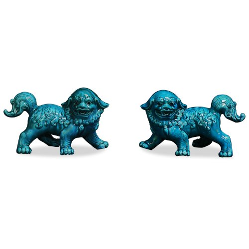 Chinese Porcelain Teal Blue Foo Dogs (Pair) - 7.5In