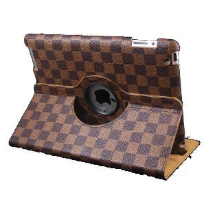 LiViTech 360 Degrees Rotating Brown Checker Damier Magnetic Leather Smart Cover Case for Apple New iPad 3