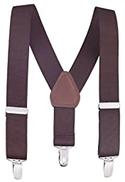 Albert's Baby Kids Solid Color Elastic Adjustable Wedding Suspenders (26'' - Brown)