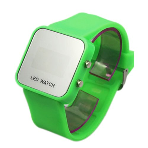 LED Mirror Digital Luxury Sports Watch Unisex for Men and Women Silicone Green