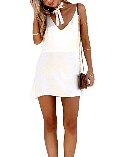 Simplee Apparel Women's Sexy Spaghetti Strap Backless Satin Sleepwear Chemises White (Spaghetti Strap Satin Dress compare prices)